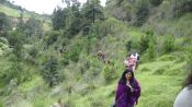 Our group with friends<br />walking the narrow paths toward the ancient Maya Altar<br />deep in the mountains of Quetzaltenango