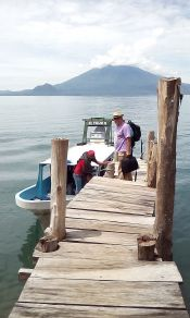 Arriving at Santa Cruz la Laguna on public boats (no automobile access)